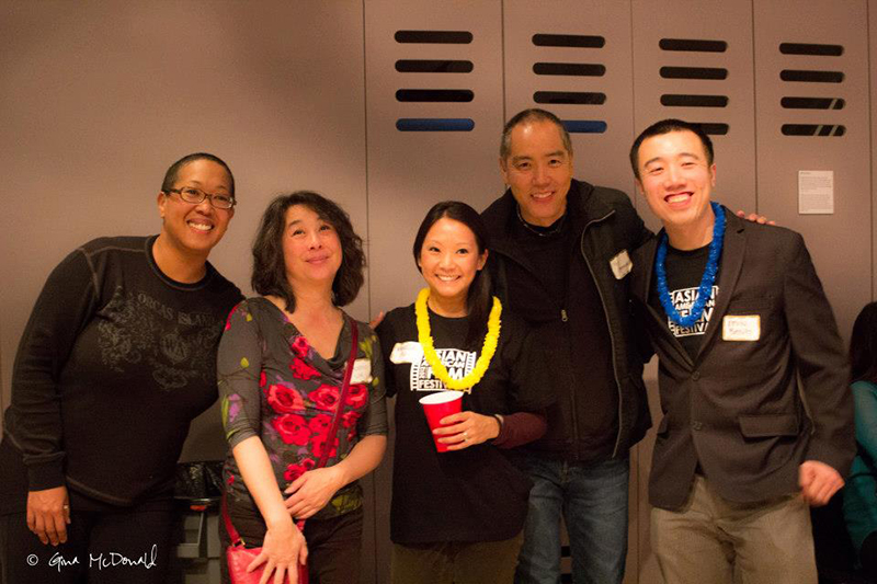 Seattle Asian American Film Festival organizers and filmmakers from last year's festival gather for a photo. From left to right, Eli Kimaro, Valerie Soe, Vanessa Au, Yuji Okumoto and Kevin Bang. (Photo by Gina McDonald)