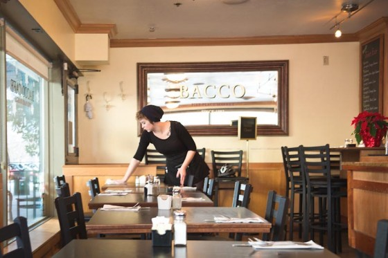 Server Hayley Lund at Bacco Café, serving breakfast and lunch upstairs from Chan. (Photo by Soyon Im)