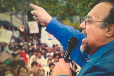 Magdaleno Rose-Avila addresses the crowd at an immigration rally in Seattle in 2006. (Photo courtesy of Rose-Avila)