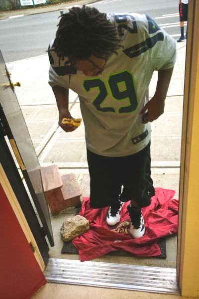 The Ethiopian-American owned Rainier Mini Mart showed their 12th man spirit during the NFC Championship by laying out a 49ers jacket in their doorway... and later burning it. (Photo by Colleen McDevitt)