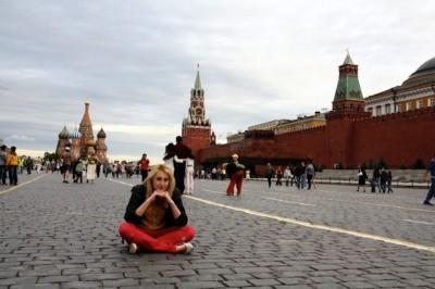 Anastasia Sytenko sits in Moscow's Red Square. (Photo courtesy of Anastasia Sytenko)