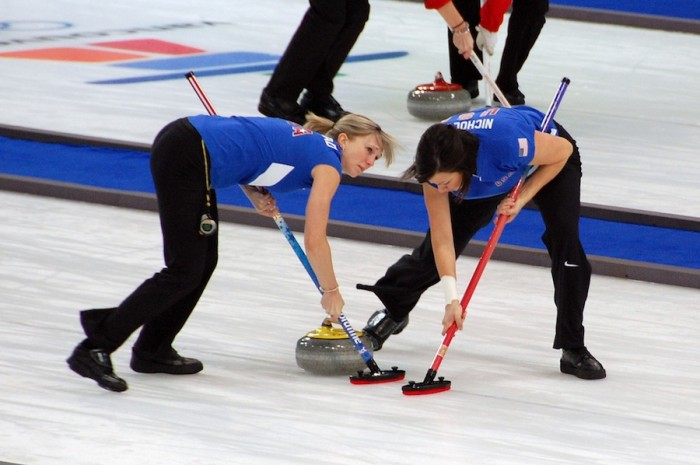 Nicole Joraanstad and Natalie Nicholson sweep for Team USA at the Vancouver Olympics. (Photo by Jon Oropeza via Flickr)