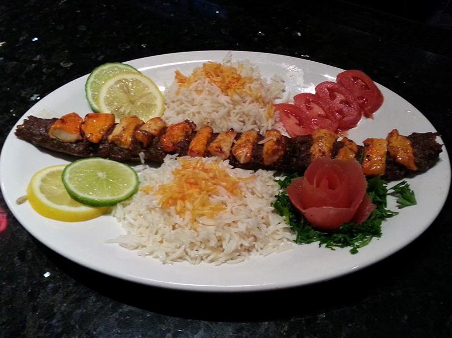 A kubida kabob and murgh kabob combo dish. (Photo courtesy Ariana)