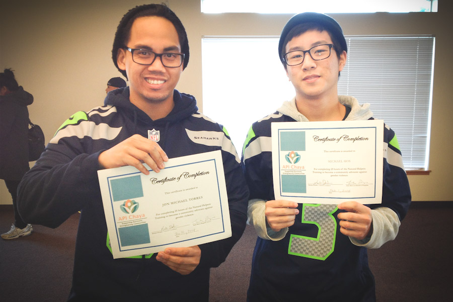 Johh-Michael Torres and Michael Hoy complete 25 hours of training to become Natural Helpers. (Photo by Jill Mangaliman)