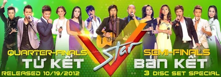 Trina Buiquy (fifth from left) on a promotional poster for Vstar, a popular Vietnamese-American singing competition. (Photo courtesy of Thuy Nga Entertainment)