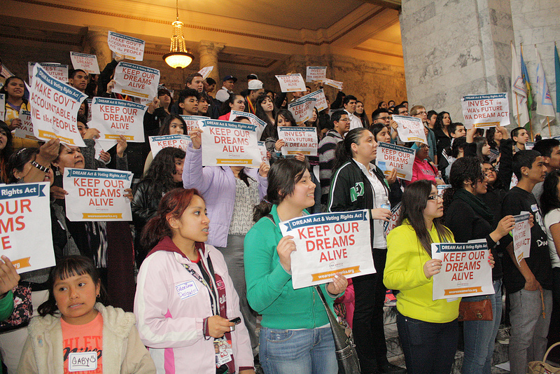 Advocates for the Dream Act rally outside the Washington State Senate. (Photo Courtesy of One America)