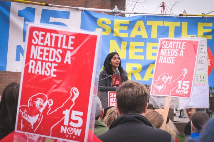City Councilmember Kshama Sawant speaks at a March 15th rally for a $15 minimum wage. (Photo by Shannon Kringen)