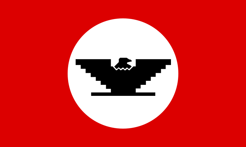 A United Farm Workers flag containing the Huelga (or Welga) Bird. (Photo via Wikimedia Commons)