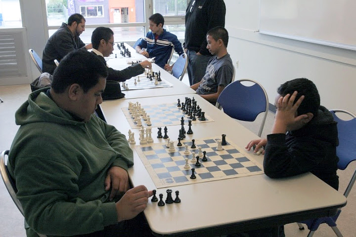 Chess players at the Rainier Beach Community Center and Pool dedication. (Photo by Terry Reed)