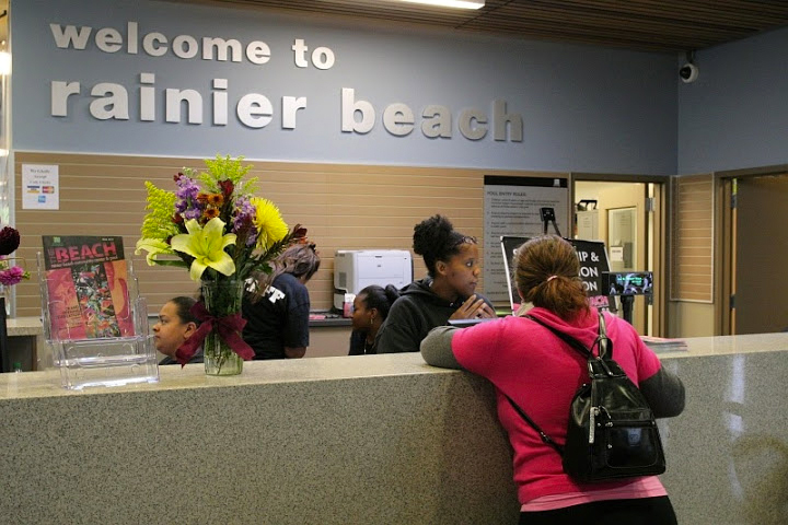 Registration desk at the Rainier Beach Community Center. (Photo by Terry Reed)