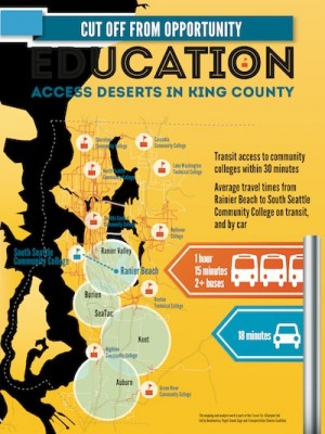 A collaborative mapping project between Transportation Choices and OneAmerica display how proposed bus cuts might affect access to education