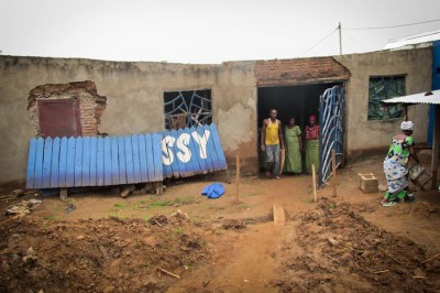 One of the Carama homes that survived, but was damaged by flooding. (Photo by Prosper Ndabishuriye)