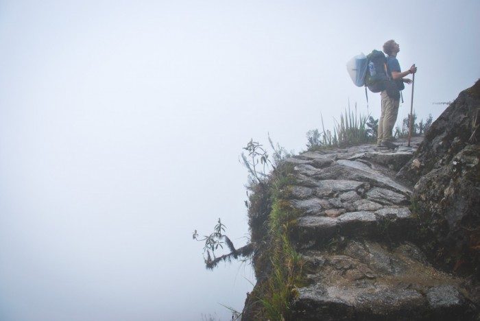 Author Gustav Cappaert paused on the Inca Trail day three near Phuyupatamarca. (Photo by Chris Lewis)
