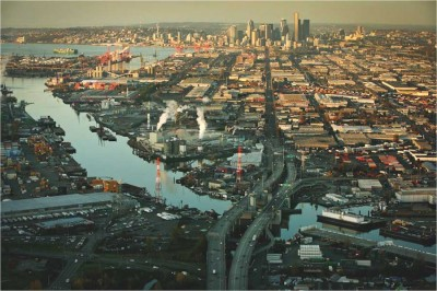 In heavily populated areas like the Duwamish River Superfund site in South Seattle the human impacts of environmental devistation are apparent. (Photo by Paul Joseph Brown)