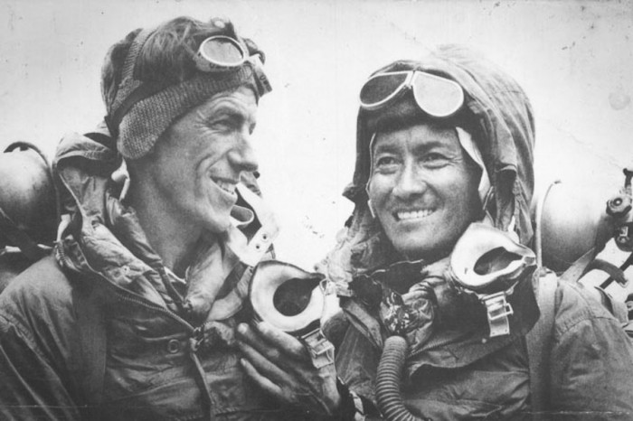 New Zealander Edmund Hillary and Nepali Sherpa Tenzing Norgay were the first climbers to summit of Mt Everest in 1953. (Photo from Wikipedia)