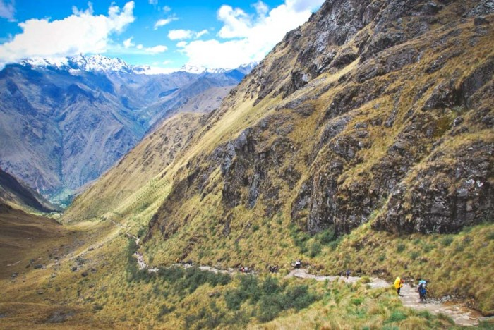 Warmiwanusca Pass, the highest point on the Inca Trail at 4200 meters. (Photo by Chris Lewis)