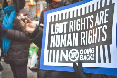 Activists in New York City take part in Global Day of Rage Against an Indian Supreme Court Judgment that reinstated Section 377 and re-criminalized homosexuality. (Photo by Sarah Bennett / IGLHRC)