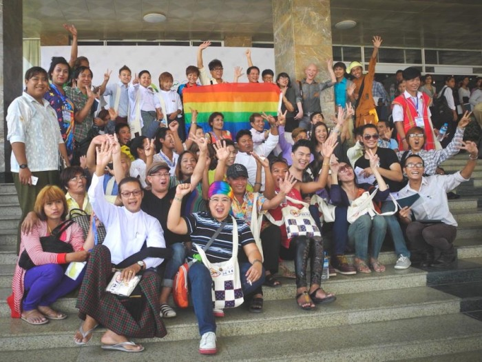 Ging Cristobal of IGLHRC (center w/rainbow head wrap) with activists at the Association of Southeast Nations (ASEAN) People's Forum in Yangon, Mayanmar. (Photo by Arus Pelangi)
