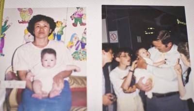 Laura Wachs as a baby with her birth mother (left) and her adoptive family (right).