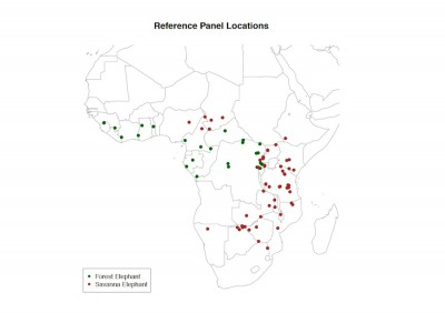 Locations of elephant dung samples collected across Africa. Each location includes 10 -50 samples, collected from separate family groups. (Image courtesy UW CCB)