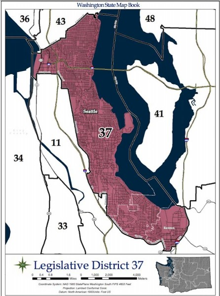Map of the 37th Legislative District (Map via Washington State Redistricting Commission)