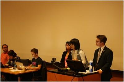 Xiaoxu Wang spoke at the ASUW meeting at Paccar Hall on Feb 25