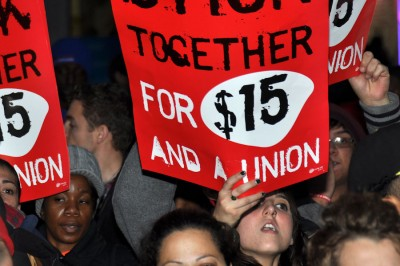 Demand for $15 wages and the right to unionize for fast food workers started at a protest in New York in November 2012. (Photo from Flickr by Michael Fleshman)
