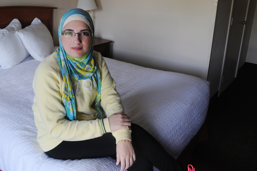 Ala'a Basatneh sits in her Seattle hotel room. Basatneh and  Piscatello have spent the last seven months debuting the #ChicagoGirl film in Europe. Seattle is its first American debut  Photo by Alisa Reznick