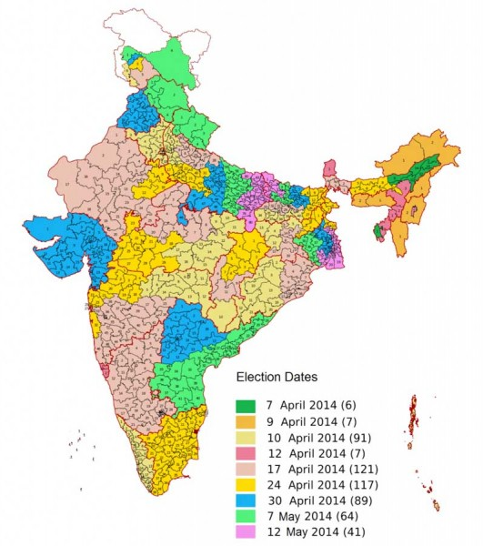 Voting schedule for the 2014 Indian General Election. (Map via Wikipedia)