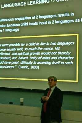 Prof. Fred Genesee studies bilingualism among early learners at McGill University in Montreal. (Photo by Annaliese Davis)