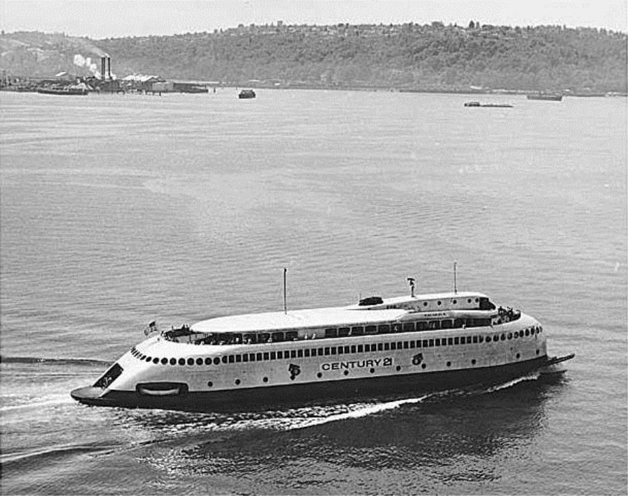 Washington has had a long history of ferries. Here the Kalakala is in Elliot Bay promoting the world's fair in 1962 (Photo courtesy of IMLS Digital Collections and Content)