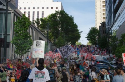 Marchers filled Madison street blocks deep as they reached downtown. (Photo by Seth Halleran)