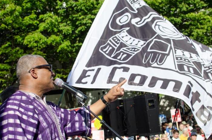 Reverend Dr. Leslie Braxton addressed the crowd of protestors at Westlake Park. (Photo by Seth Halleran)