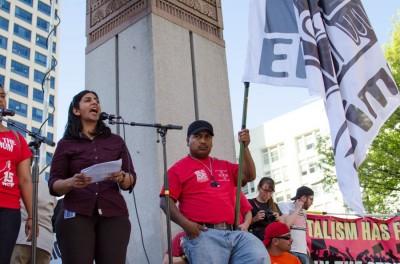 Kshama Sawant criticized Mayor Ed Murray's minimum wage proposal in her speech at Westlake Park. (Photo by Seth Halleran)