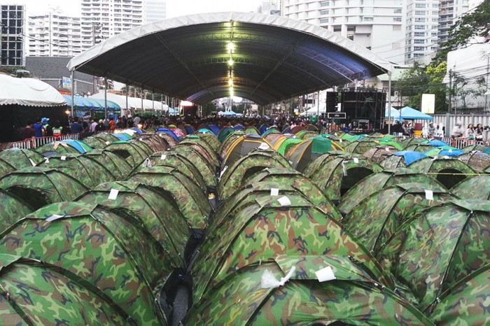 """A """"tent city"""" pops up around the Shutdown Bangkok protest site in February 2014. (Photo by Gennie Gebhart)"""