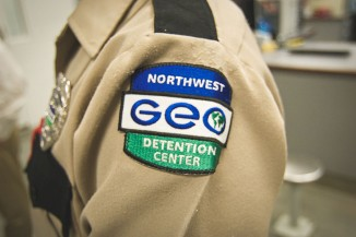 A guard at the Northwest Detention Center, a private facility owned and operated by the GEO Group, on contract from Immigration and Customs Enforcement. (Photo by Alex Stonehill)