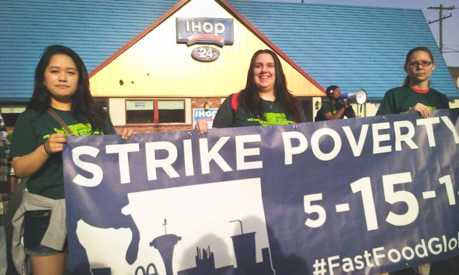 Fast food workers demonstrate outside the Capitol Hill IHOP. (Photo courtesy Working Washington)