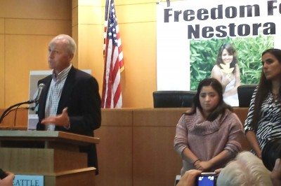 Congressman Adam Smith (left), Salgado's daughter Grisel Rodriguez and Seattle Human Rights Commissioner Alejandra Gonza at a press conference Monday calling for Salgado's release. (Photo by Kamna Shastri)