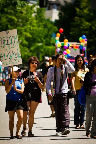 "Members of Trikone Northwest, an organization supporting LGBTQ memers of the South Asian community in the Pacific Northwest, march in the 2011 Pride Parade. (Photo by <a href=""http://www.darinrogers.net/"">Darin Rogers</a>)"