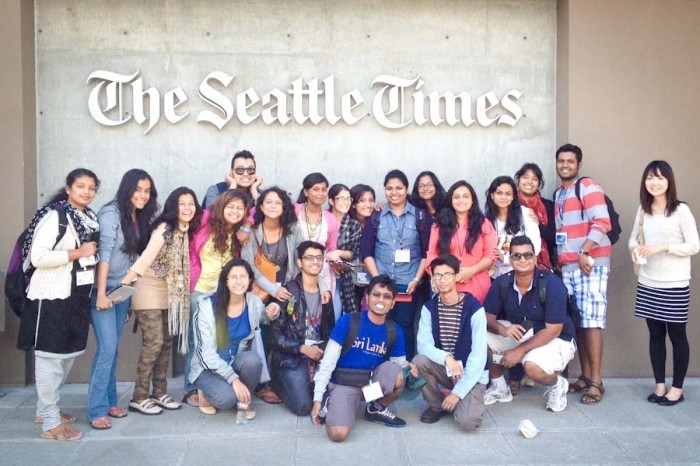 Visiting students from South Asia — seen here visiting The Seattle Times — say the US's reputation for mass shootings looms large in their home countries. (Photo by Catherine Cheng)