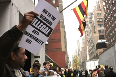 Protestors gather outside the Ugandan Embassy in New York City in 2009, when the Anti-Homosexuality Bill was first introduced. (Photo by Kaytee Riek)