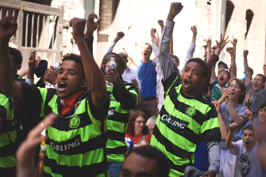 Catch outdoor screenings of World Cup matches in Pioneer Square's Nord Alley. (Photo by Jordan Lewis)