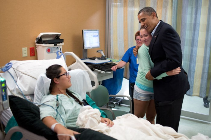 President Obama visits victims of the 2012 movie theater shootings in Aurora, Colorado. (Photo by Pete Souza / The White House)