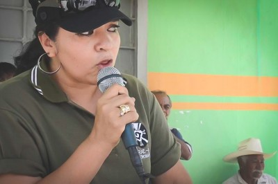 Nestora Salgado addresses the community police force she lead in Olinalá, Mexico, prior to her arrest last year. (Still from Youtube)