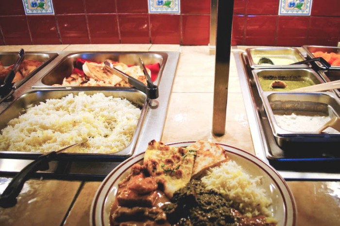The lunch buffet at Pabla, which offers vegetarian versions of Punjabi-style dishes from the north of India. (Photo by Anna Goren).