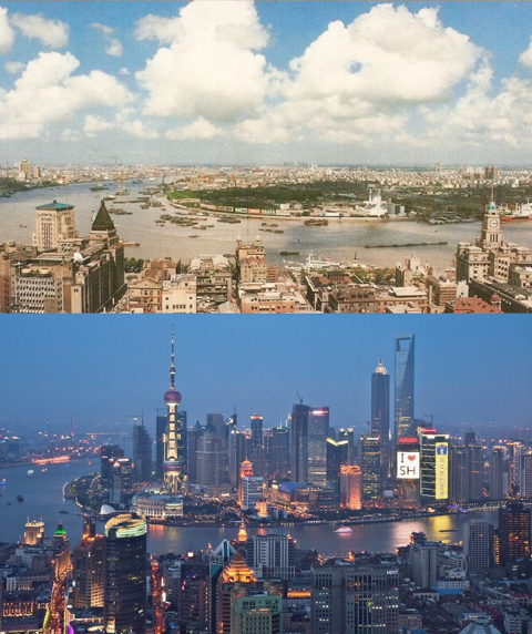 Shanghai, one of China's largest cities, has seen massive development between 1990 (above) and 2012 (below). (Photo from Wikipedia)