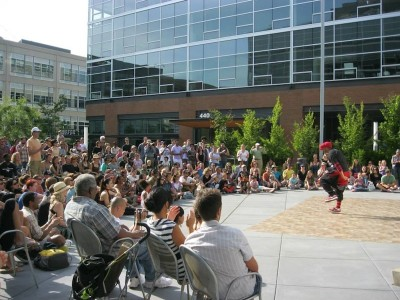Massive Monkees perform their pieces in front of a crowd gathered together to observe different dancers and dance cultures from all over the world at last year's festival. (Photo courtesy of Pearl Leung from the Seattle International Dance Festival website.)