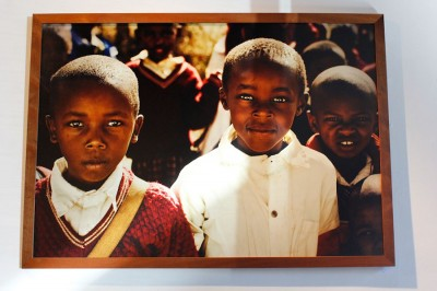 A photo of young Kenyans by local photographer Meg Stacker, featured in the Ziwa art show at 2312 Gallery in Belltown. (Photo by Kamna Shastri of an image by Meg Stacker)
