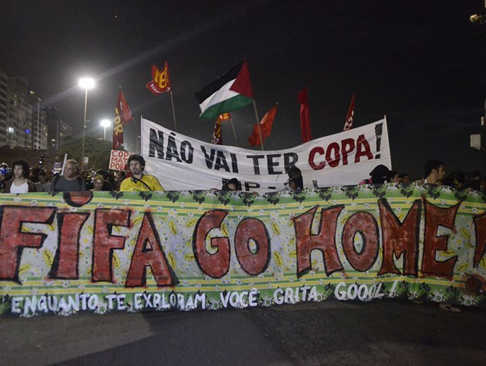 Protest against the World Cup in Copacabana on June 12, 2014.  (Photo from Agência Brasil, a public Brazilian news agency)
