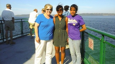 Lynn Thompson on a ferry ride with Anuja Khadka from Nepal and Zenisha Gonsalves from India (photo by Zenisha Gonsalves)